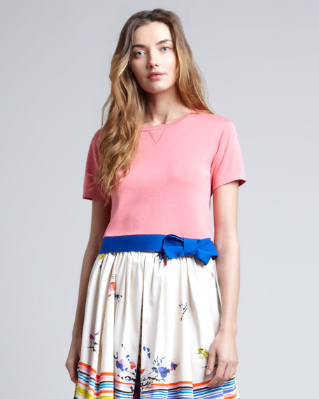 Cropped-Bow-Hem Knit Sweater, Pink