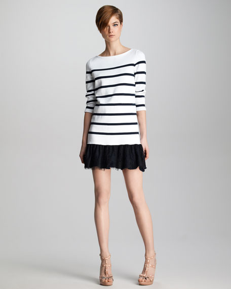 Lace-Hem Striped Knit Dress