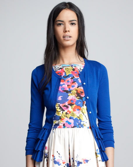 Ruffed Peplum Cardigan, Blue