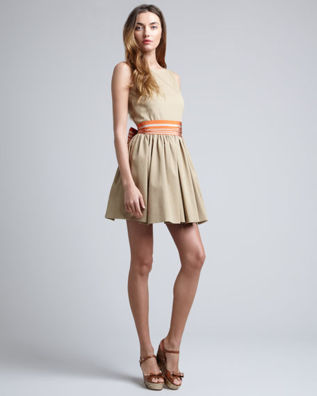 Striped-Sash-Waist Dress, Khaki