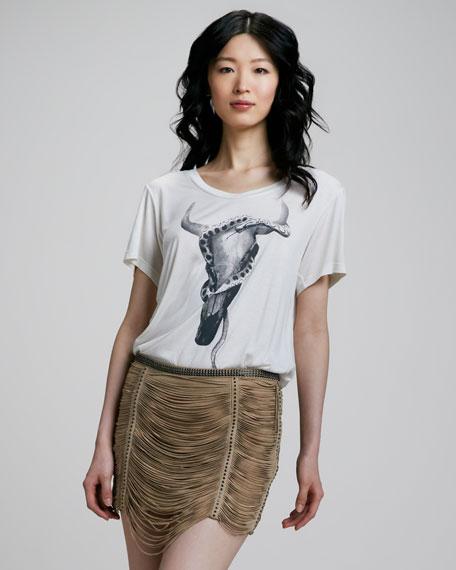 Fringed Suede Miniskirt