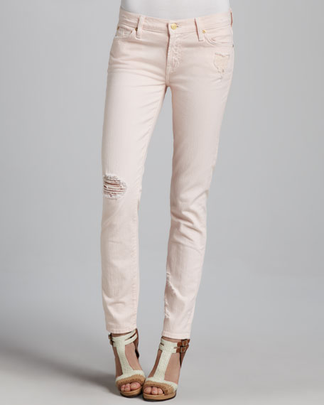The Slim Cigarette Distressed Jeans, Ballet Pink