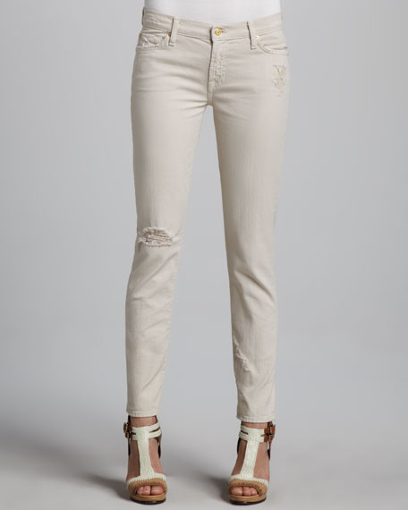 The Slim Cigarette Distressed Jeans, Sand Dune