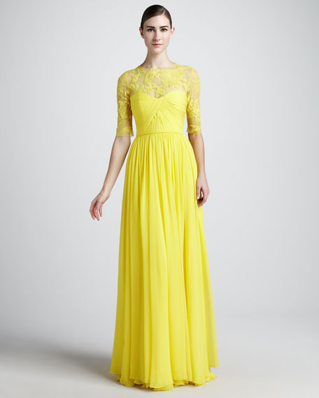 Lace-Neck Gown