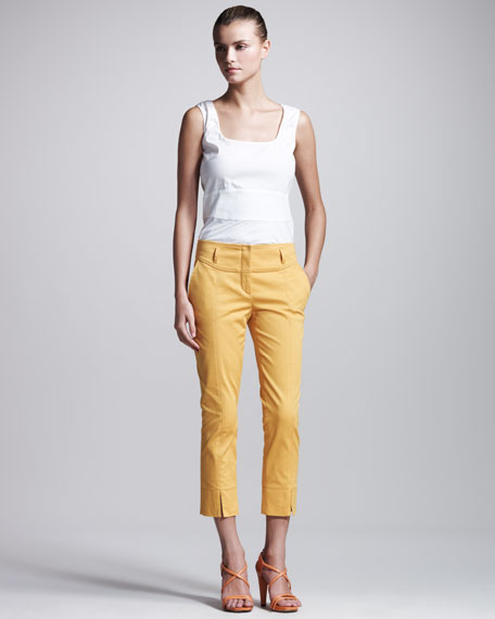 Stretch-Gabardine Cropped Pants