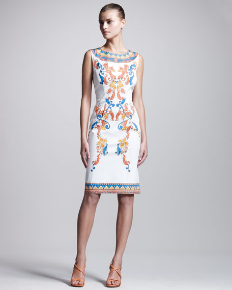 Printed Stretch-Poplin Dress