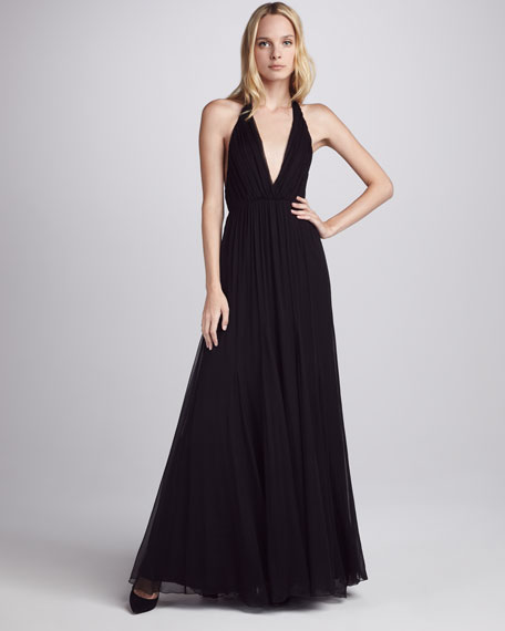 Alberta Chiffon Halter Maxi Dress