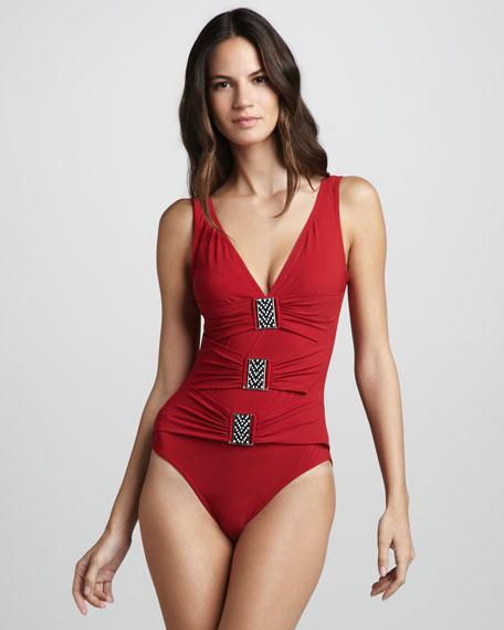 Bead-Buckle One-Piece Swimsuit