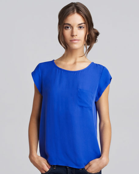 Rancher Short-Sleeve Blouse, Nile Blue