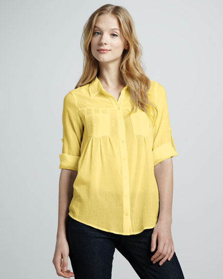 Pinot Double-Pocket Blouse, Yellow