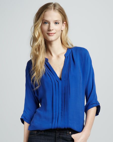 Marru Silk Blouse, Bright Blue