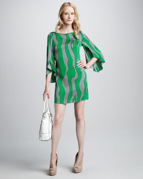 Printed Slit-Sleeve Dress
