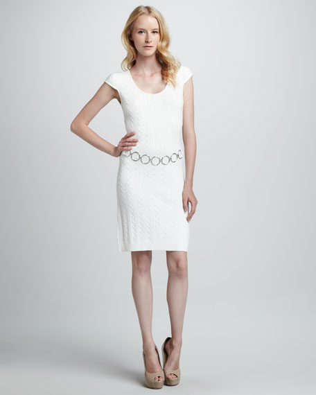 Cable-Knit Chain Dress, White
