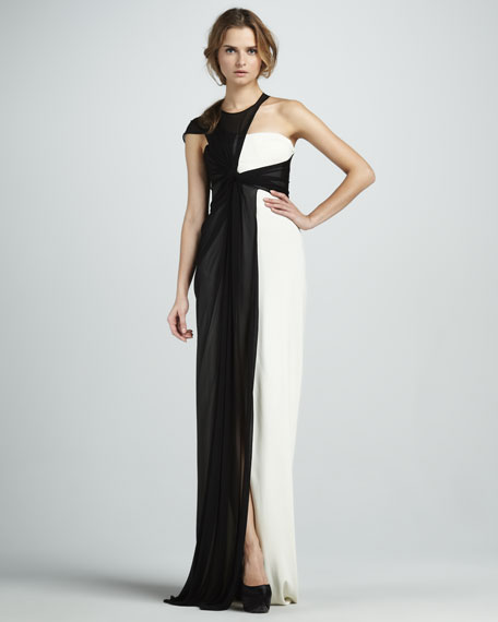 Sleeveless Asymmetric Two-Tone Dress