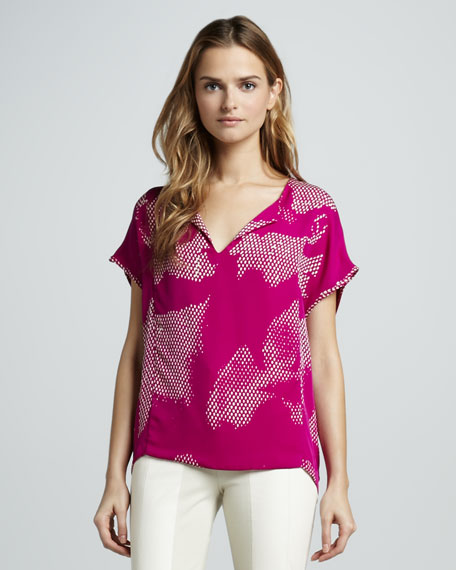 Printed Short-Sleeve Georgette Top