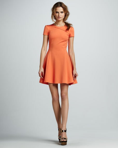 Cross-Neck Short-Sleeve Dress