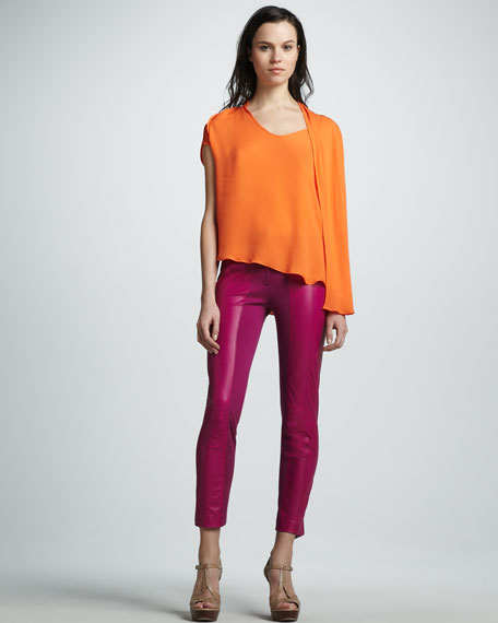 Slim Ponte/Leather Pants