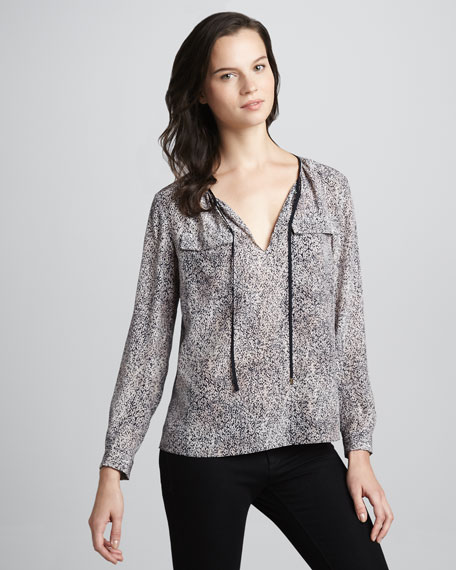 Static-Print Tie-Neck Blouse
