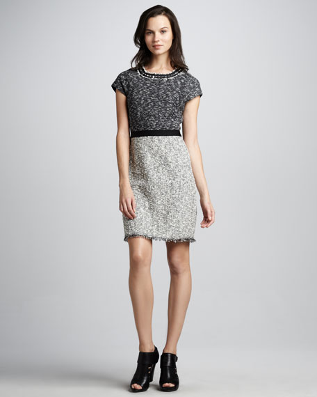 Tweed Fringe-Trim Dress