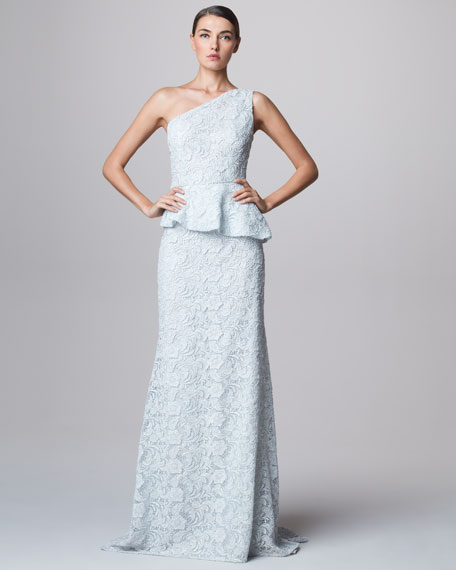One-Shoulder Lace Peplum Gown