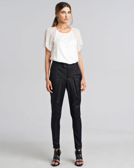Lacquered Cotton-Blend Pants