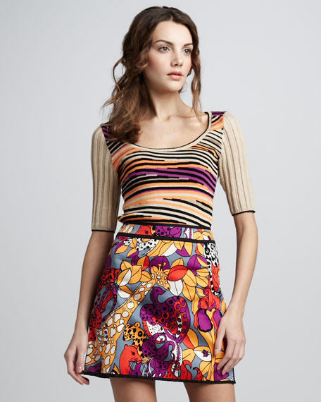Jungle-Print Miniskirt
