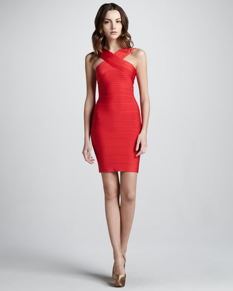 Cut-In Bandage Dress, Coral Poppy