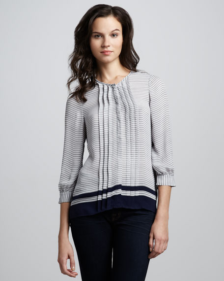 Modine Striped Pintuck Blouse