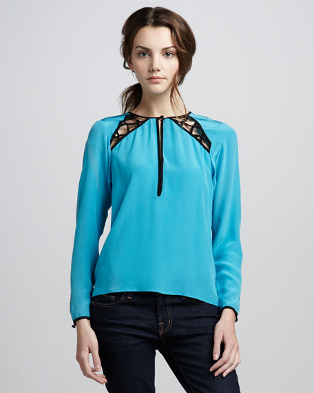 Cutout-Top Silk Blouse