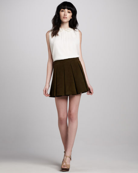 Milo Pleated Leather Skirt