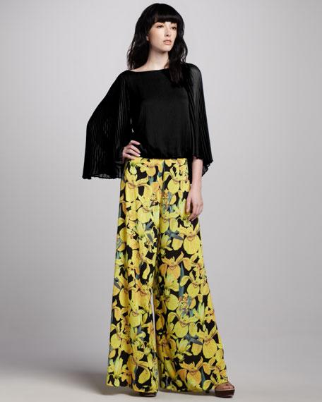 Sunflower-Print Wide-Leg Pants