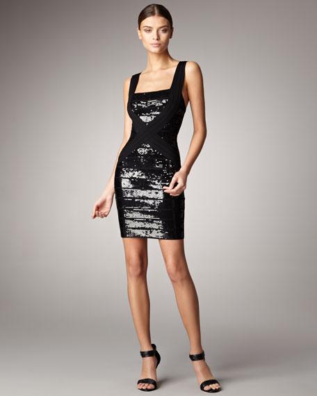 Sequined Square-Neck Bandage Dress