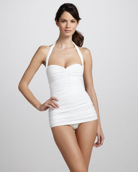 Bill Ruched One-Piece Swimsuit, White