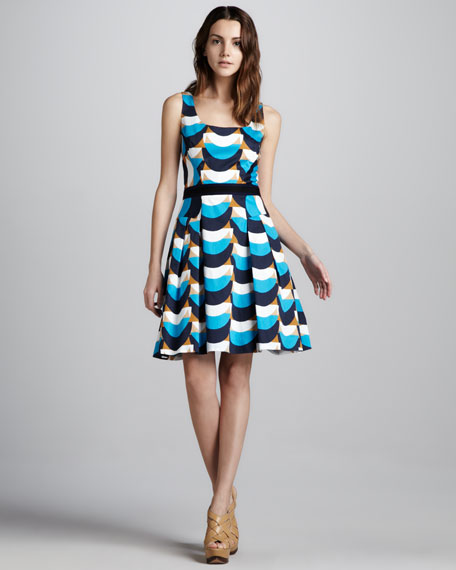 Isabelle Wave-Print Dress