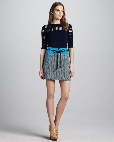 Roberta Tweed Belted Skirt