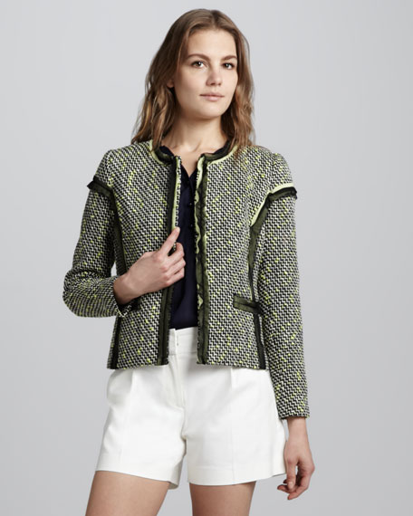 Lea Contrast-Trim Tweed Blazer