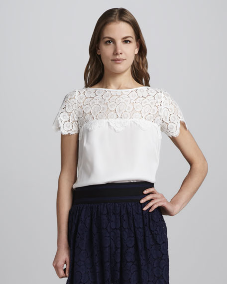 Mila Lace-Panel Top