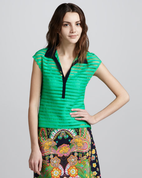 Auction Sheer-Stripe Top, Gumball Green