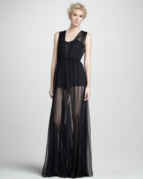 Francesca Gathered Overlay Gown with Bodysuit