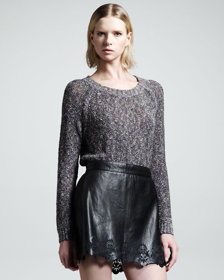 Paris Laser-Cut Leather Skirt