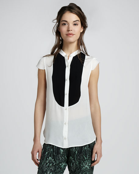 Cap Sleeve Button-Down Shirt