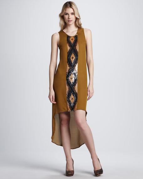High-Low Embellished Sequin Silk Dress