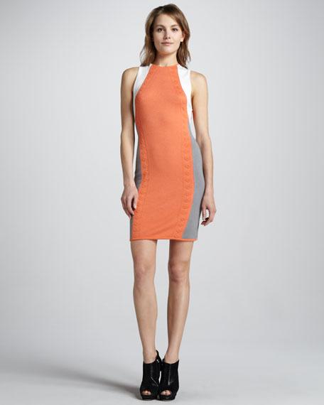 Three-Tone Knit Halter Dress