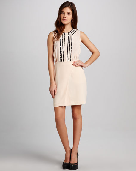 Tuxedo-Front Crepe Dress