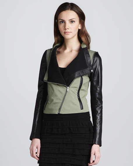 Detachable-Sleeve Jacket, Green