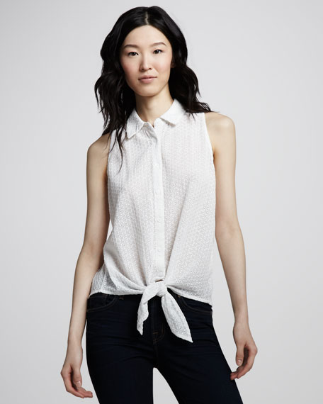 Wall Eyelet Mino Tie-Front Top