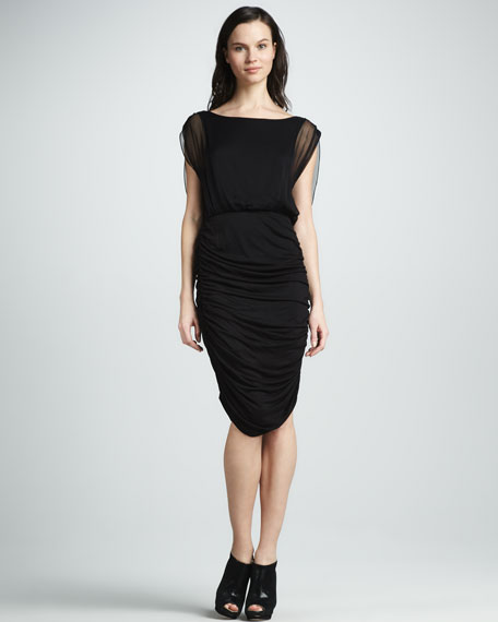 Drape-Back Ruched Dress