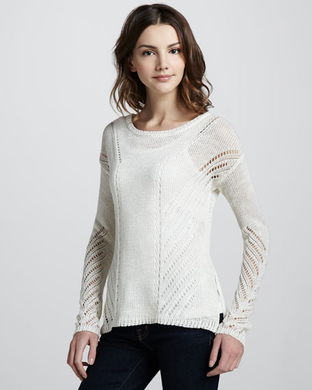 Downtown Loose-Knit Pullover, Ivory