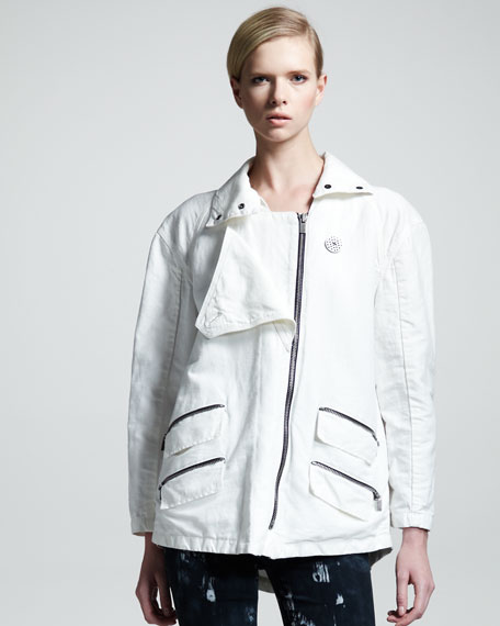 Zip-Trim Cotton-Linen Jacket