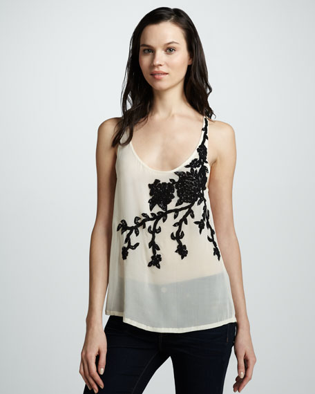 Floral-Embroidered Sheer Tank
